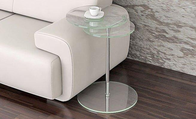 Mesa cristal templado y acero redonda 80cm   presumedetucasa ...